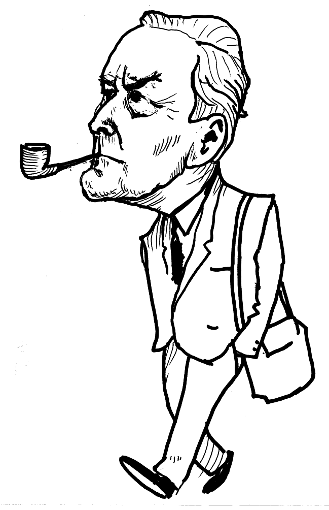 Tony Benn - caricature by Ken Gill