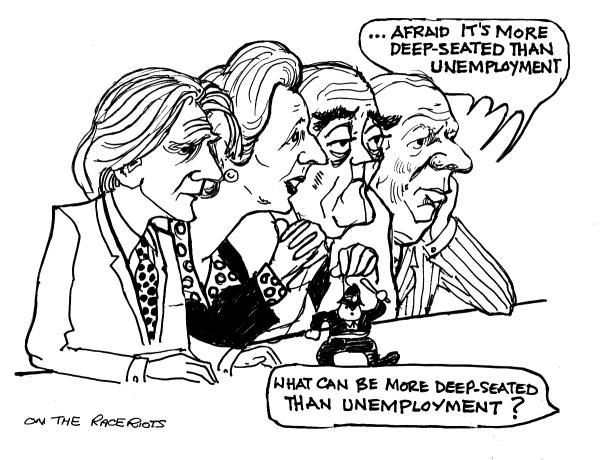 Thatcher, Heseltine caricature by Ken Gill